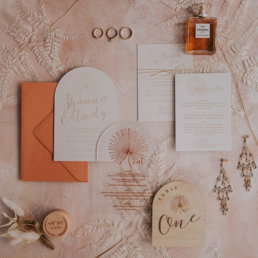 This image has an empty alt attribute; its file name is gc-wedding-collective-bohemian-romance-wedding-stationary.jpg